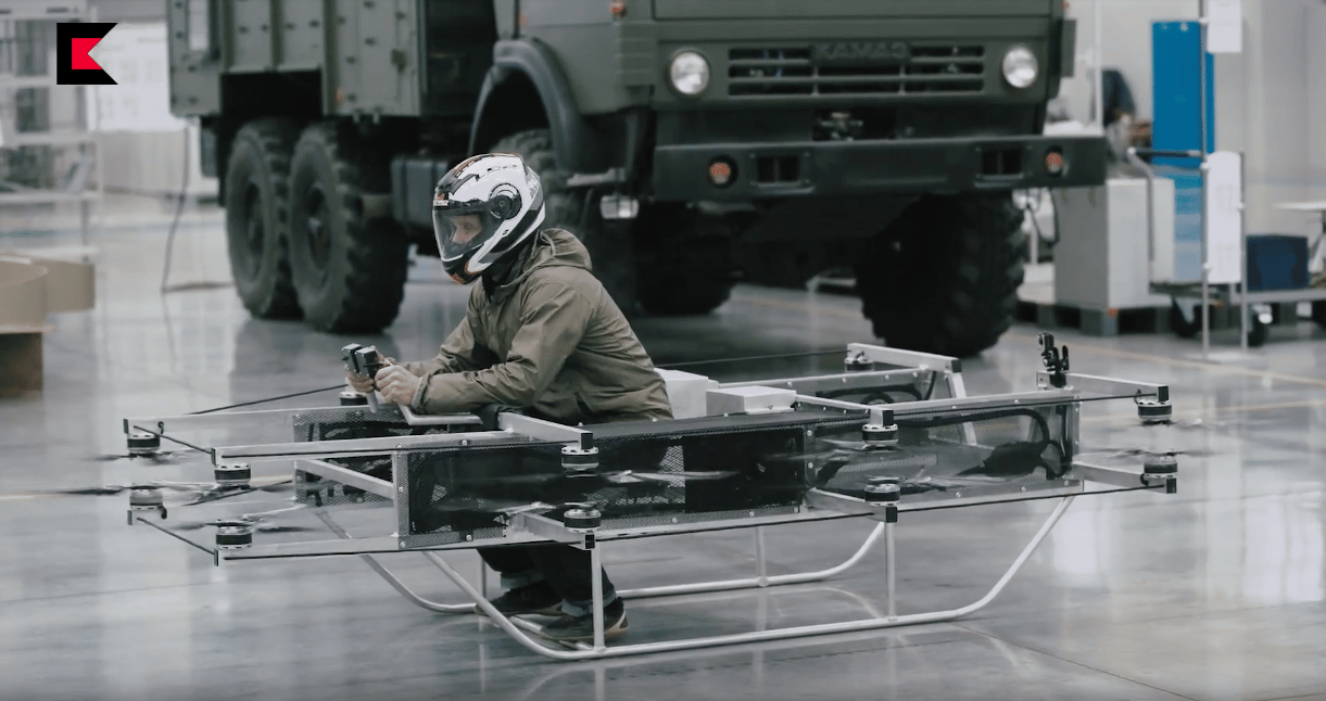 The hoverbike recently revealed by the Russian arms manufacturer