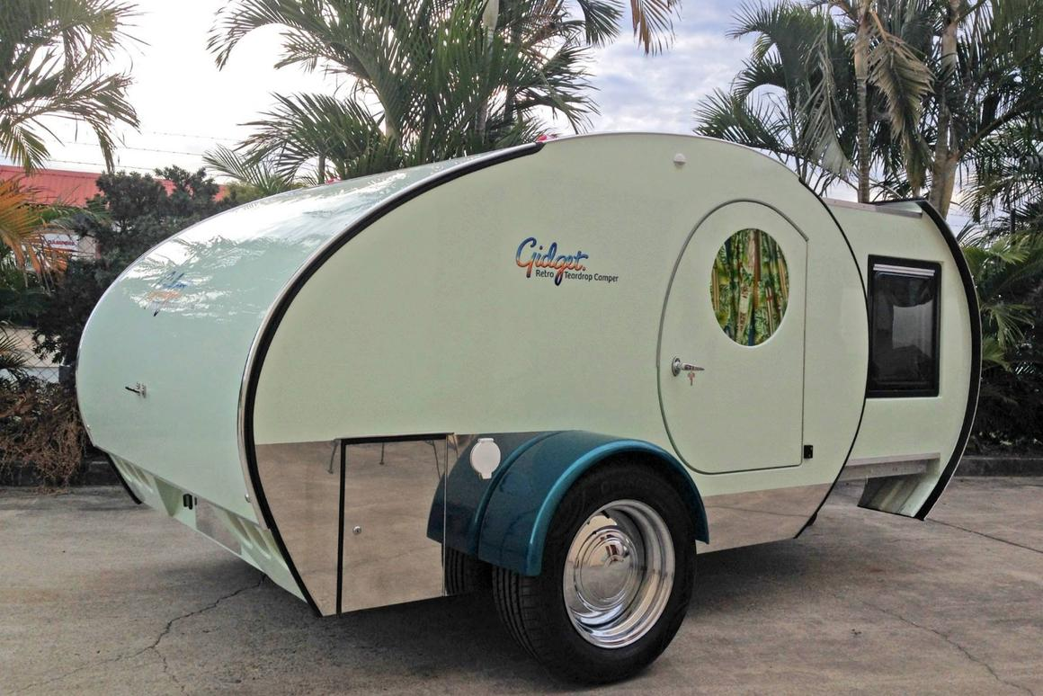 A slide-out module increases the interior space in the Gidget trailer