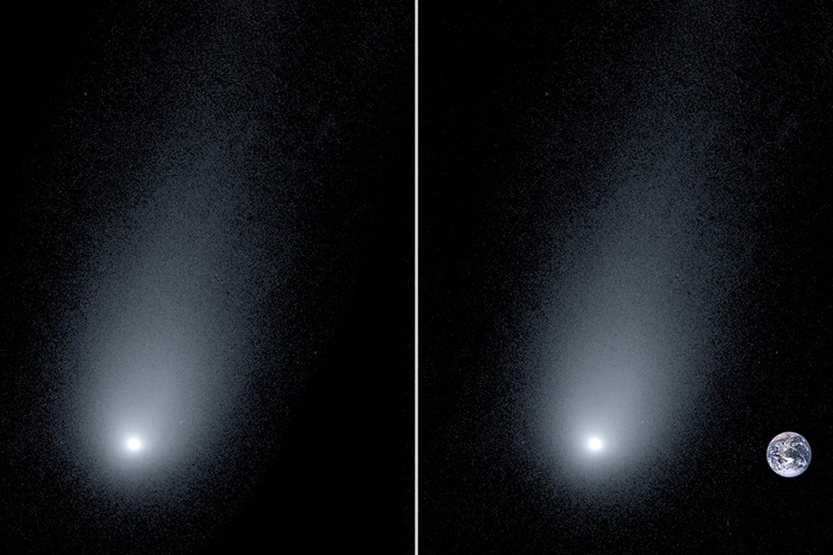 An image of interstellar comet 2I/Borisov (left) accompanied by a composite image showing the Earth for scale (right)