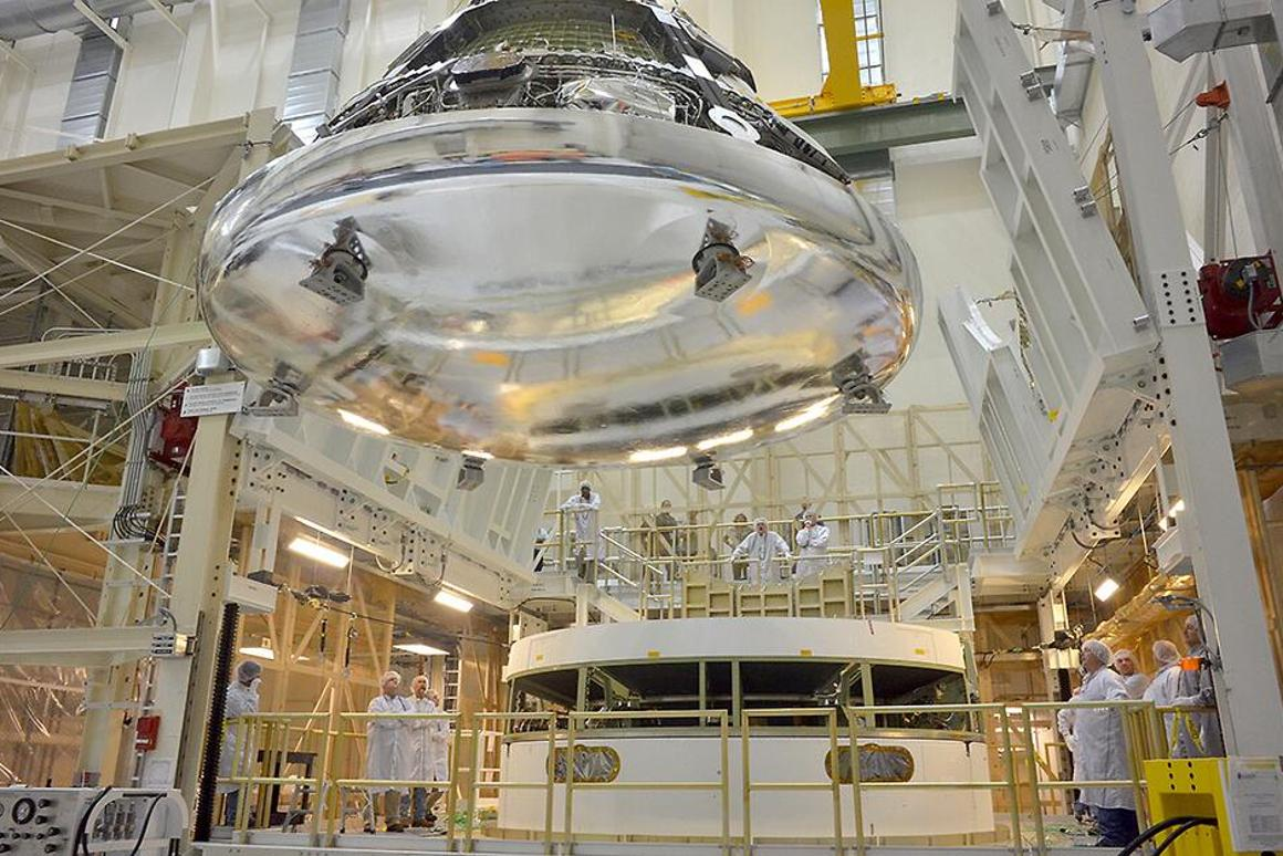 The heat shield, attached to the underside of the Orion spacecraft (Photo: NASA)