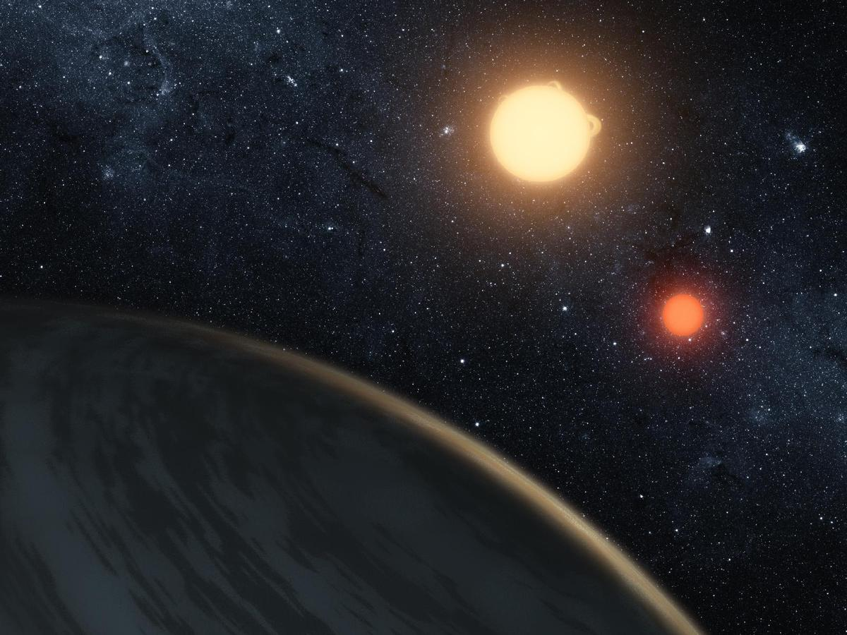 Artist's concept illustrating Kepler-16b, the first planet known to definitively orbit two stars (Image: NASA/JPL-Caltech/T. Pyle)