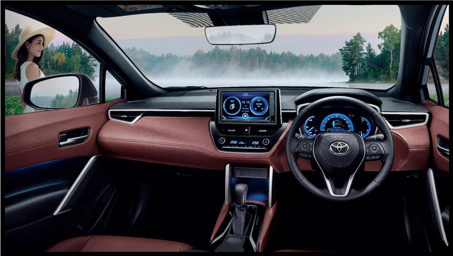 The interior layout of the Toyota Corolla Cross is very similar to other current-generation Toyota products