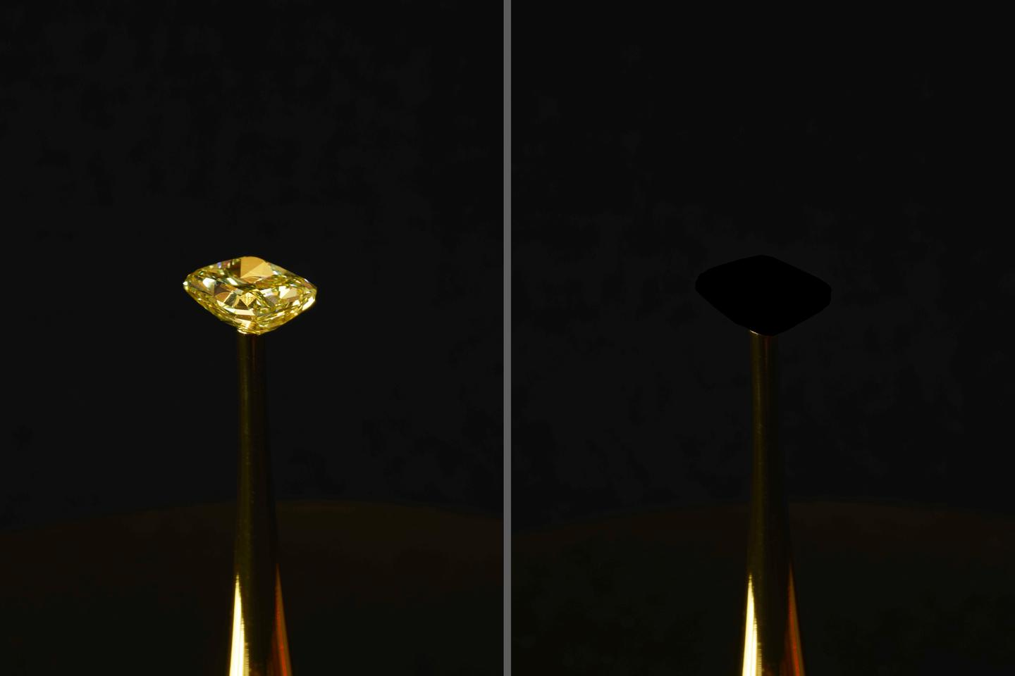 For now, the MIT team has demonstrated its ultra-black material as a coating for a a US$2-million diamond, replacing its many facets and intricate detail with a lifeless black void