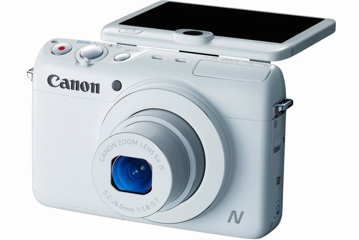 The Canon Powershot N100 can embed a photo of you taking a photo into your photo