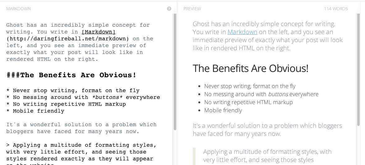 Ghost's entry editing screen (left) works besides a preview pane (right), and gives a good idea of the benefits of Markdown support