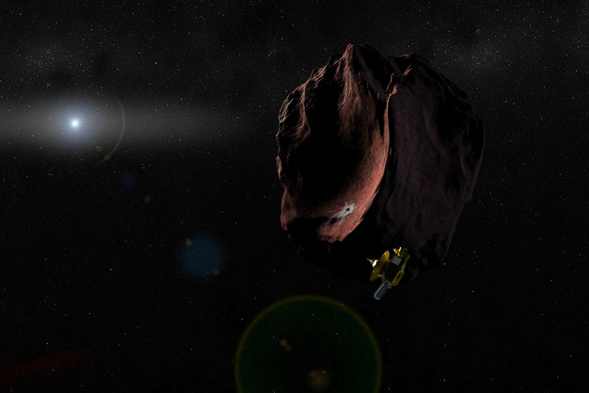 Artist's impression of NASA's New Horizons spacecraft encountering a Pluto-like object in the distant Kuiper Belt