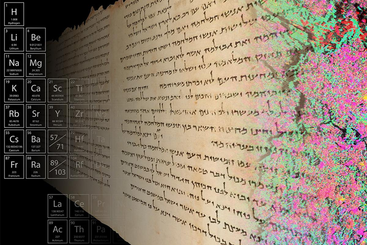 High-resolution mapping of the distribution of elements in a sample from the 2,000-year-old Temple Scroll, as shown by the colors at the right of this image, is providing insight into the scroll's ancient fabrication method