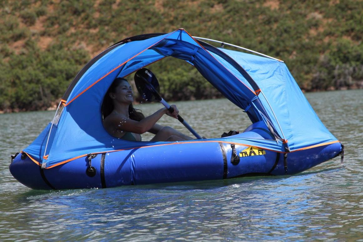 Traft says the tent can be used with the doors open on still water, but only as a sunshade, not for overnight camping