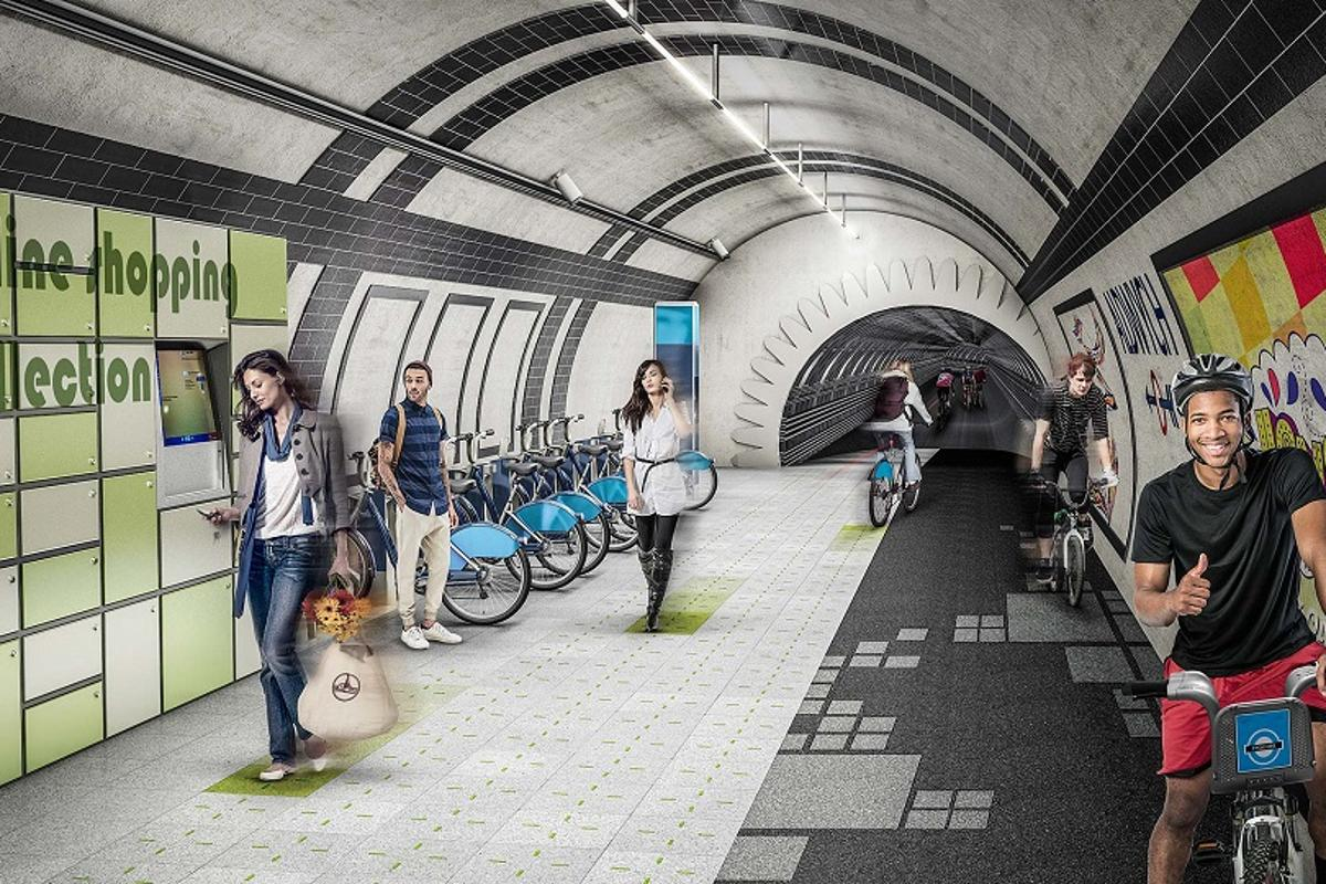 The London Underline concept would see the city's disused tunnels used as a network of cycle and footpaths (Image: Gensler)