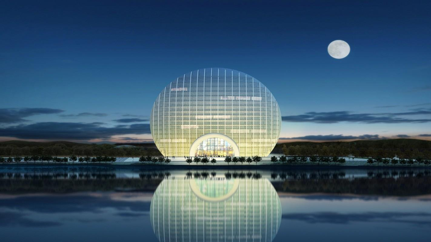The Yanqi Lake Kempinski Hotel is designed to look like the rising sun