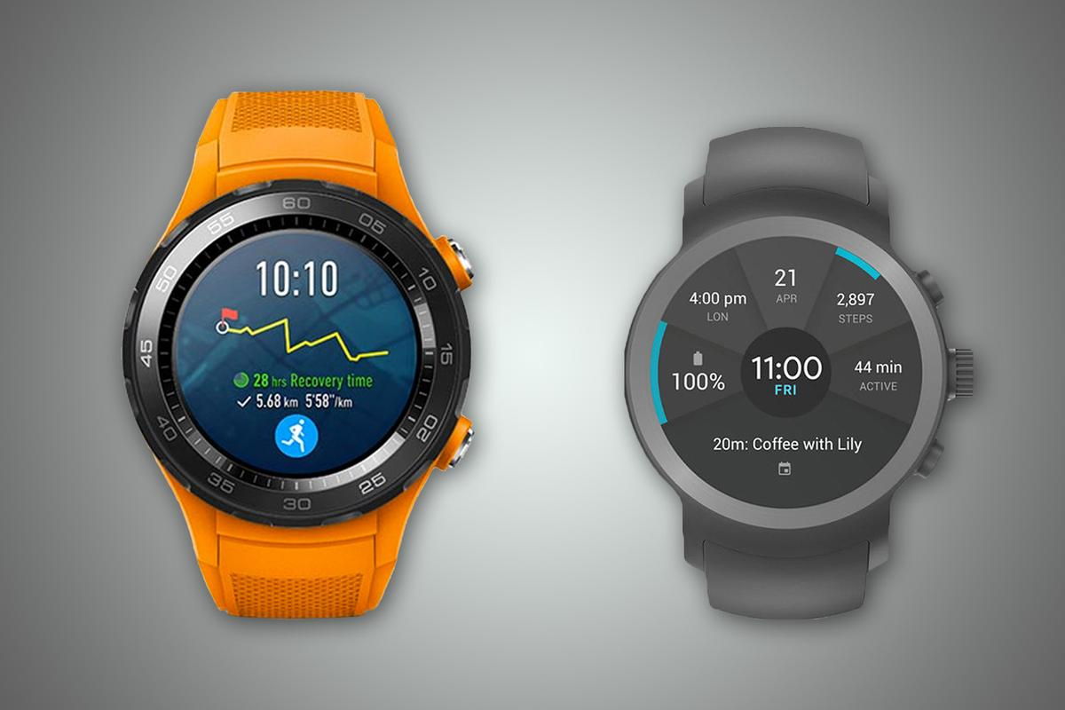 New Atlas compares the features and specs of the Android Wear 2.0-running Huawei Watch 2 (left) and LG Watch Sport