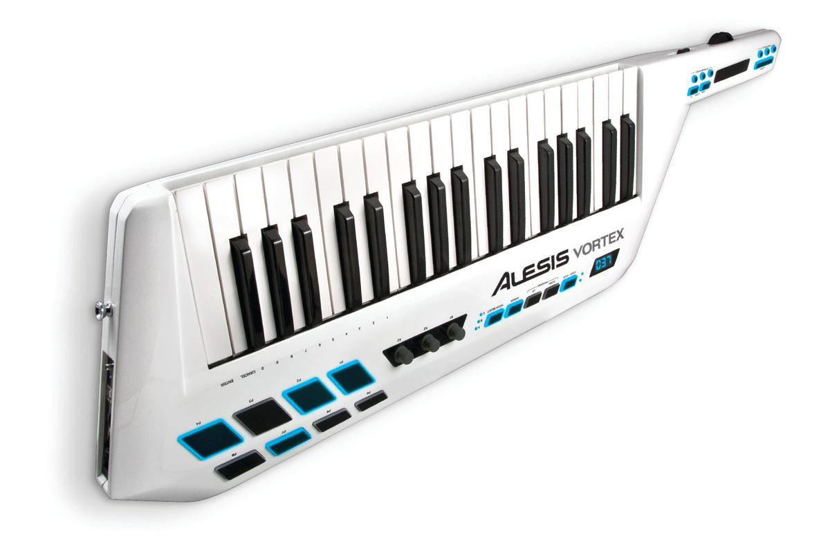 Alesis has unveiled the world's first USB/MIDI keytar - the Vortex - with a built-in accelerometer, 37 pressure sensitive keys and a host of buttons, sliders and controls