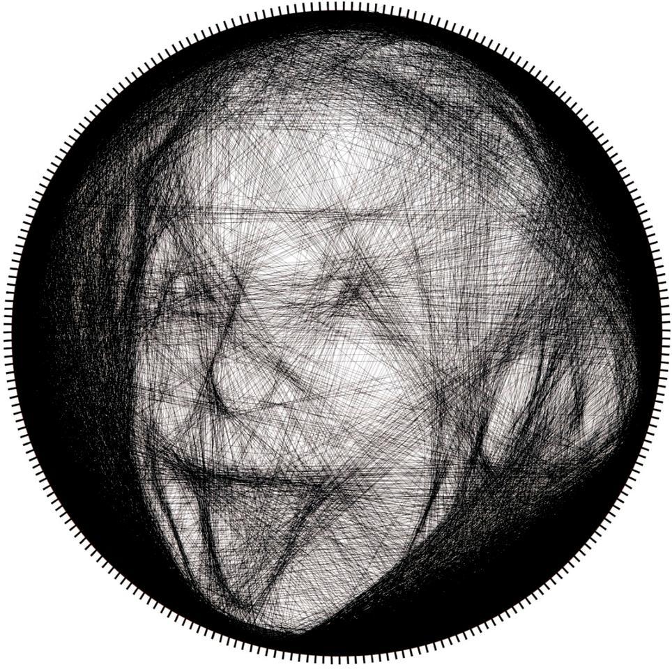 A photo ofAlbert Einstein, recreated by the string art robot
