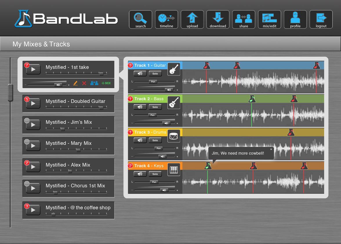 Screenshot of the BandLab user interface