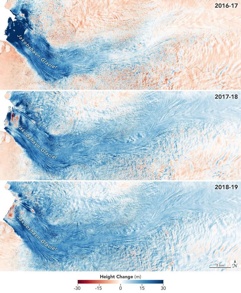 These radar images show the rate of ice gain and loss in Jakobshavn Glacier in Greenland since 2016