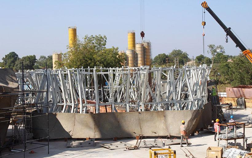 The foundations for the Statue of Unity