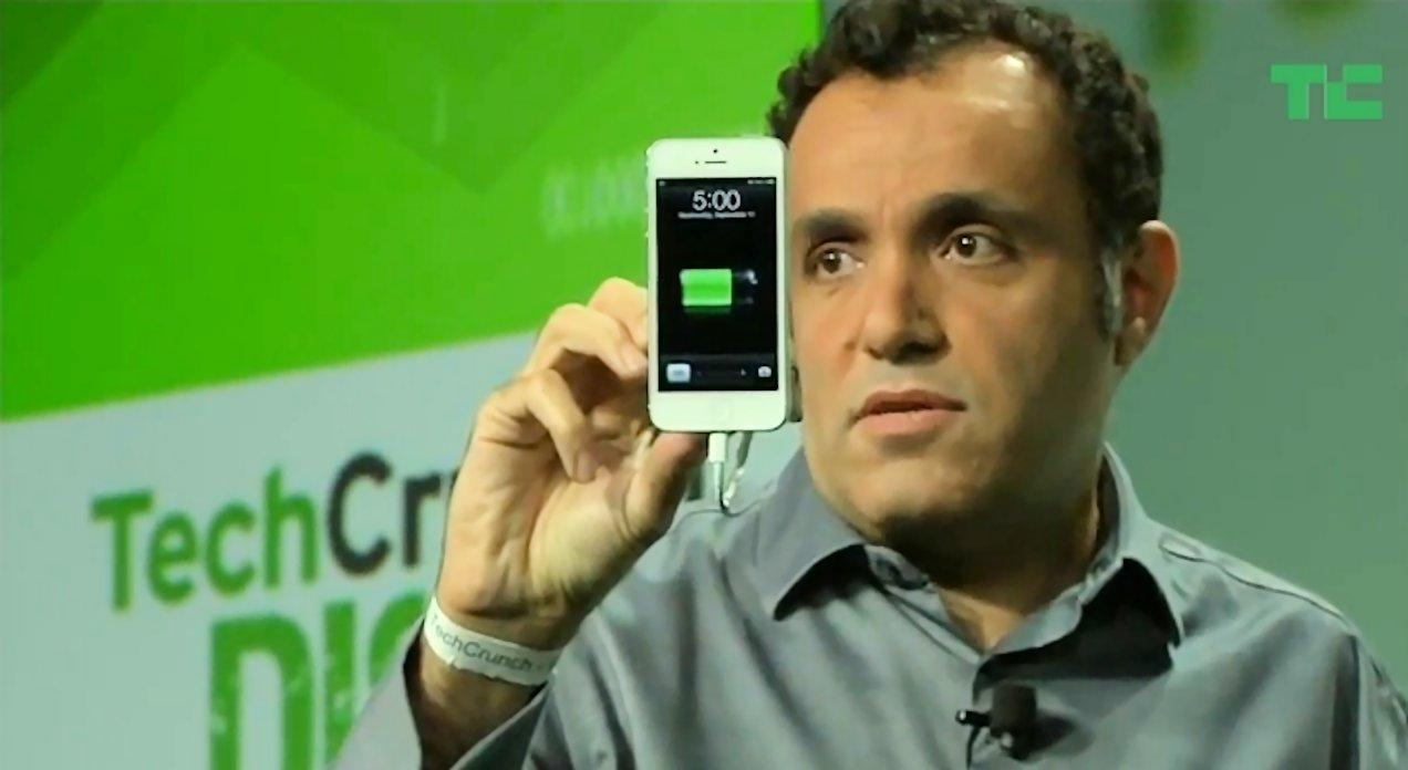 Hatem Zeine, the CEO of Ossia Incorporated and inventor of the Cota wireless charging system, demonstrated charging of his smartphone during a presentation at Tech Crunch Disrupt 2013 (Photo: Ossia, Inc.)