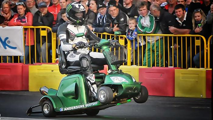The souped-up four-wheeler was put to the test at a racetrack in the Isle of Man