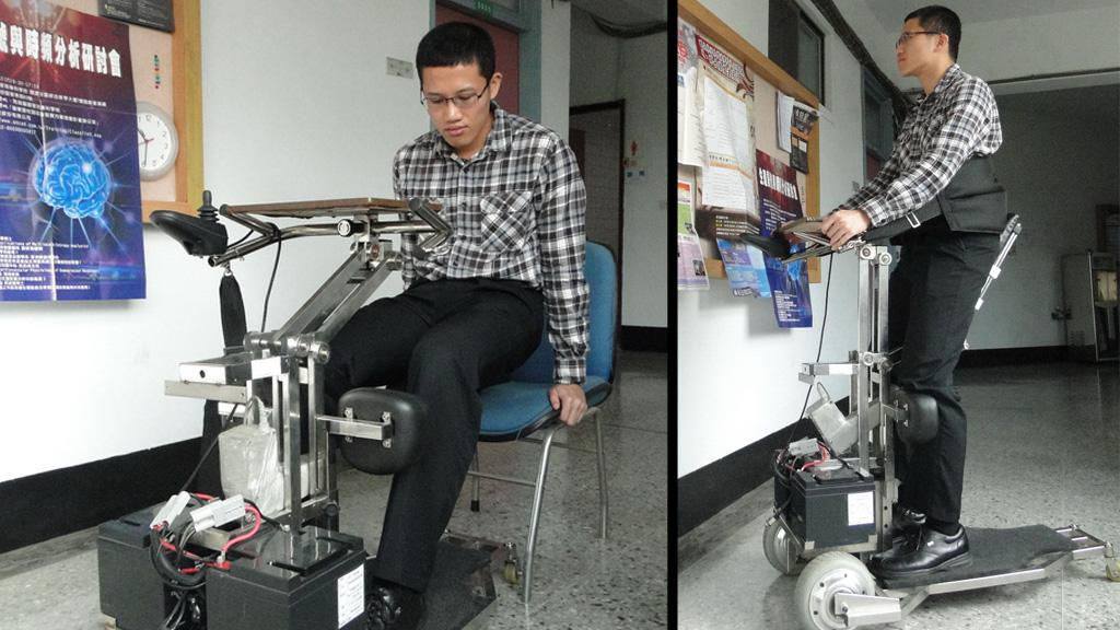 The i-Transport robotic vehicle lets the wheelchair-bound reach a standing position