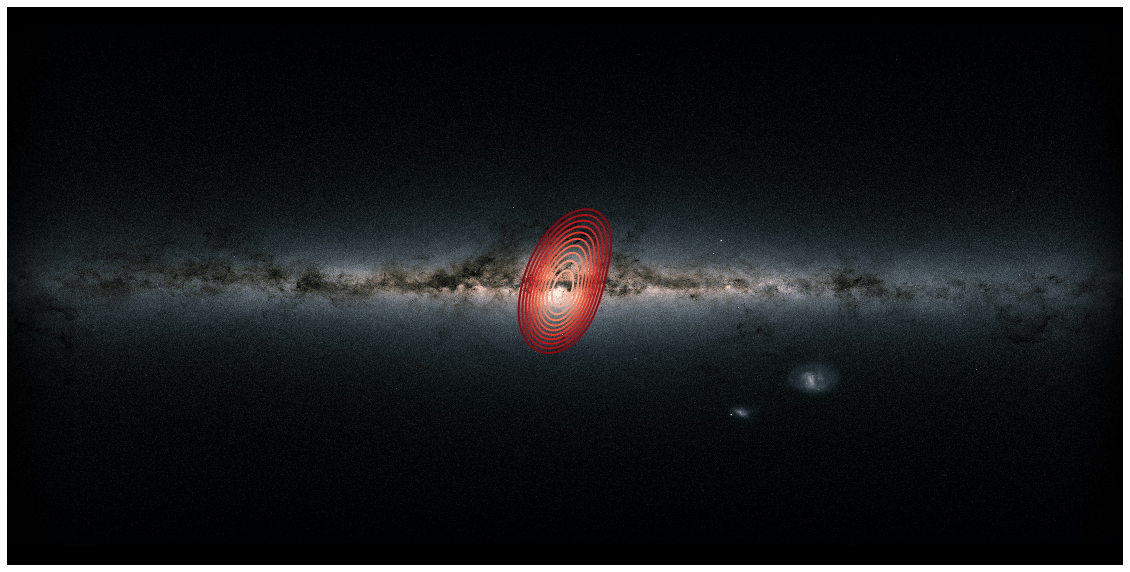 All-sky image of the Milky Way as seen from Earth with the fossil galaxy marked in red