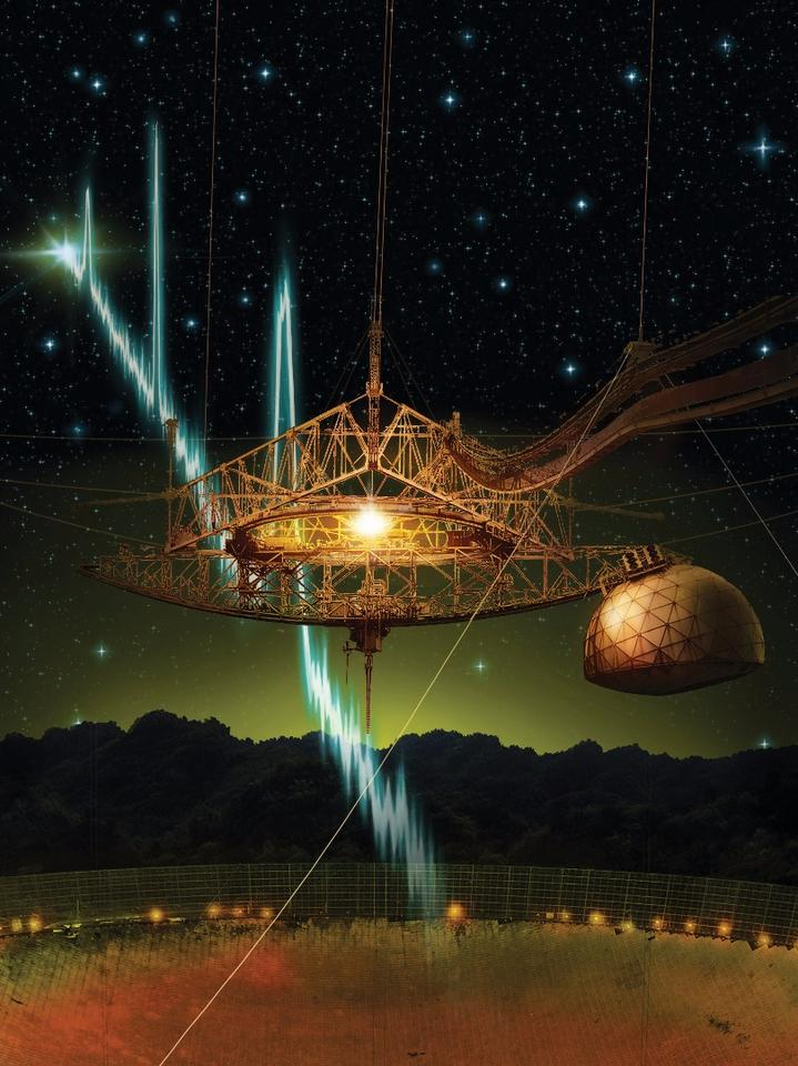 Futselaar's photographic manipulation of the Arecibo telescope, displaying unknown radio waves being received