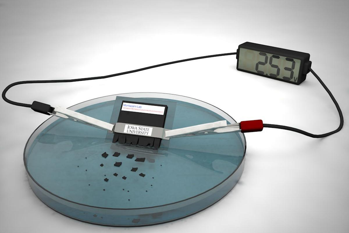 The battery can power a desktop calculator for approximately 15 minutes, but also dissolves within about half an hour once immersed in water