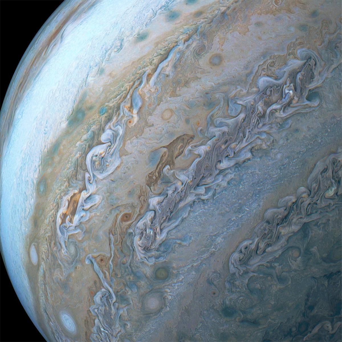 A dolphin in the clouds of Jupiter, among the best images of the massive planet captured in 2018