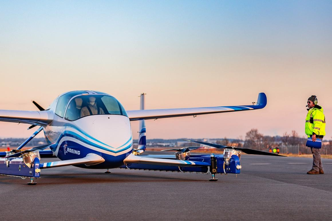 The PAVutilizes four sets of rotors for vertical takeoffs and landings, along with a rear propeller for forward flight