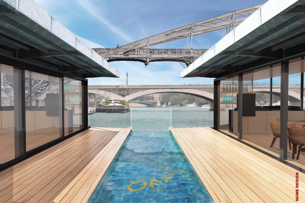 The OFF Paris Seine floating hotel will be docked at Charles de Gaulle Bridge, just a short walk from Notre Dame