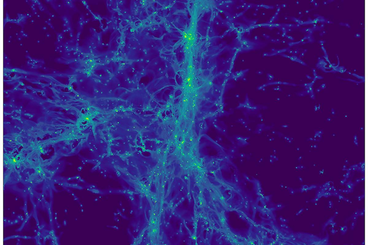 A simulated image of the cosmic web, where each point of light represents a galaxy undergoing star formation