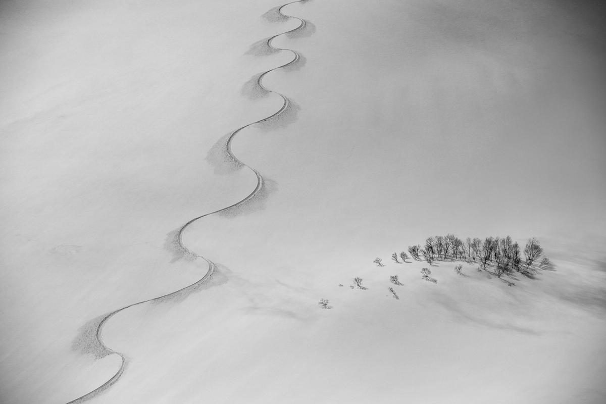 Top 50. 'Snowboard Track on Norikura'. Hakuba, Japan.