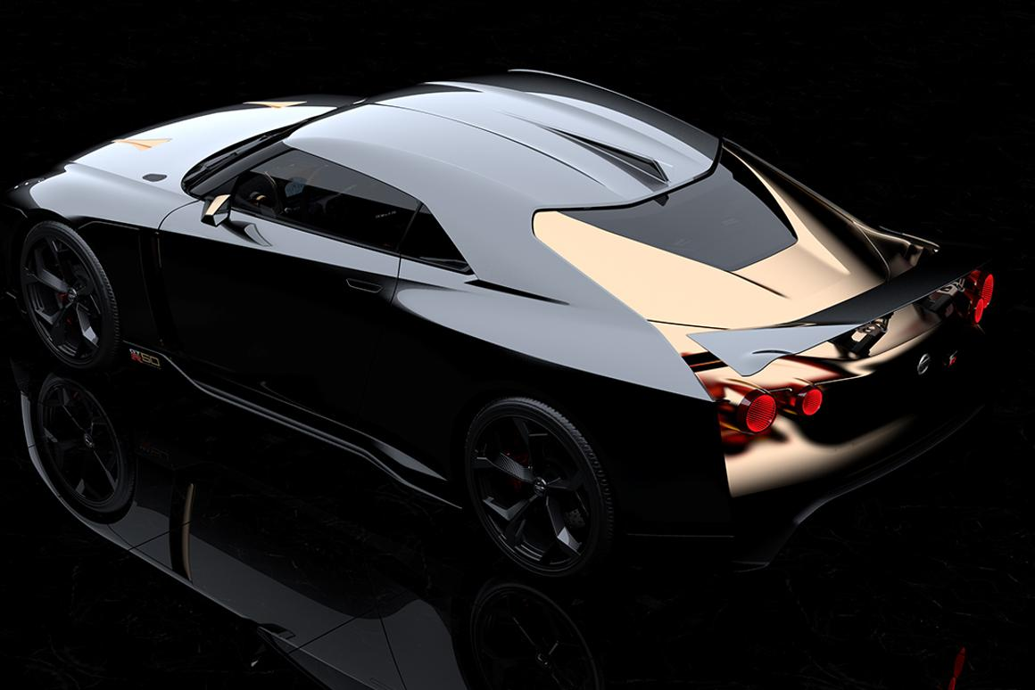 The GT-R50 has a combination of Liquid Kinetic Gray and Energetic Sigma Gold finishes