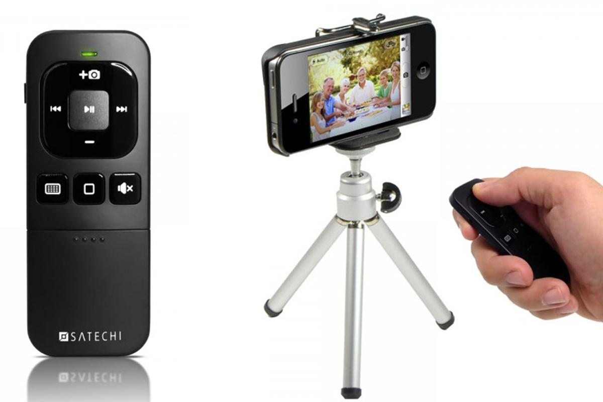 The BT Media Remote can be used to control multimedia playback on an iOS device or to remotely snap a photo