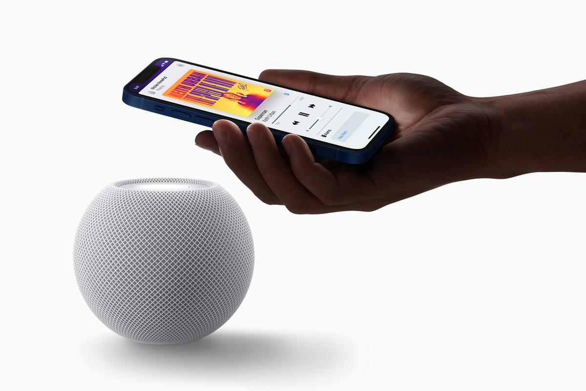 The HomePod mini works seamlessly with the iPhone