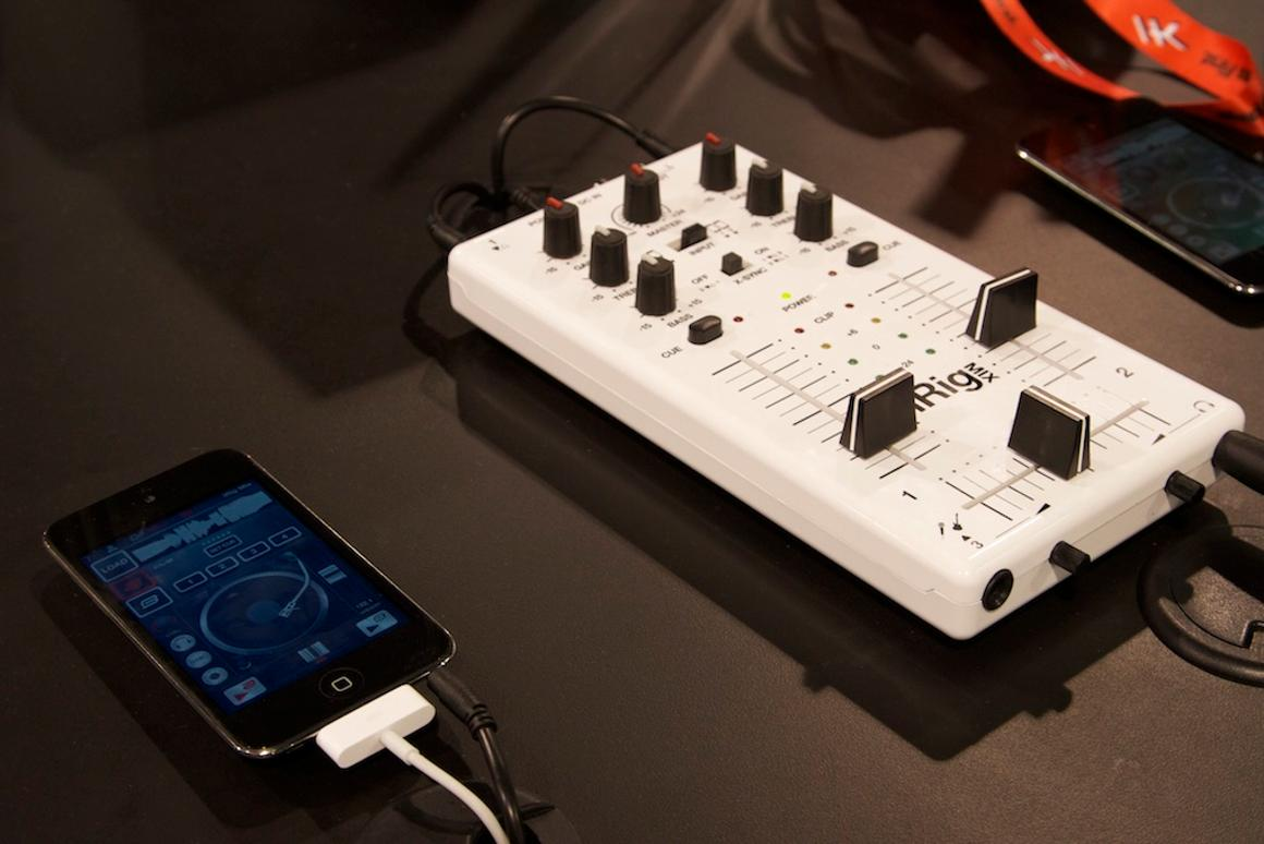 IK Multimedia's iRig MIX is a compact mobile mixer that can be used with the included DJ Rig app to mix tracks between two iOS devices
