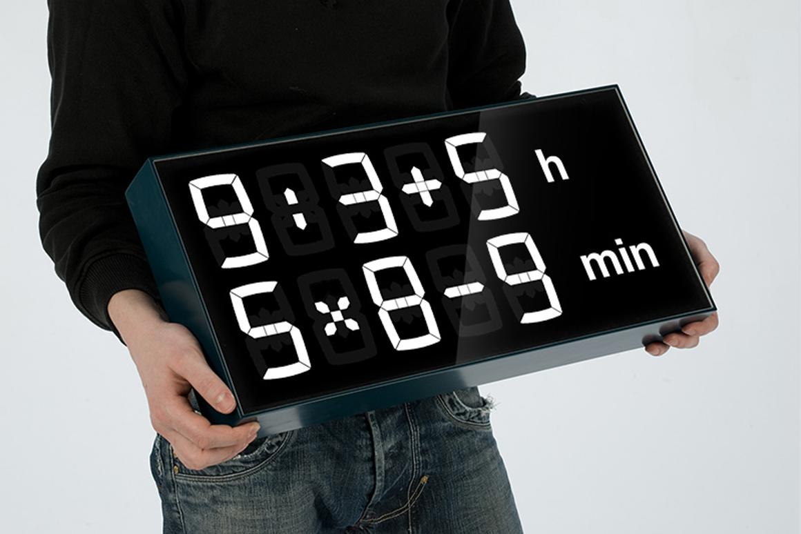 Kids need to solve math equations in order to figure out the hour and minute