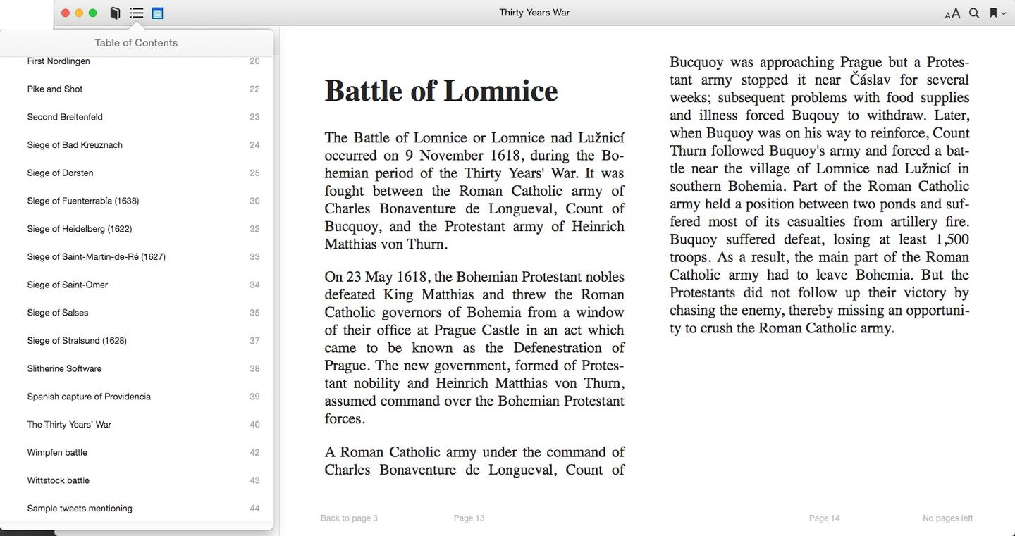 These are example pages from a PageKicker-generated ebook called Thirty Years War
