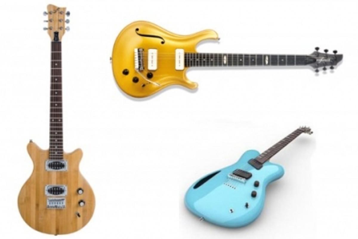 Green guitars: Babusa (left), Flax (top) and MADA (bottom right)