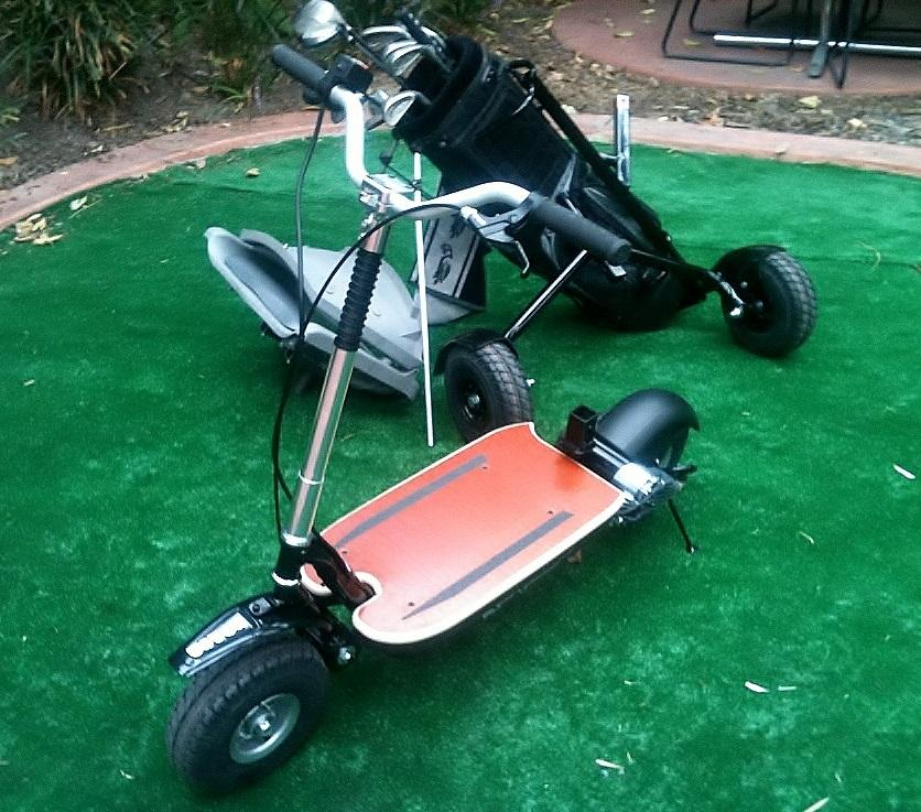 The GoCaddy's scooter section, with the outrigger wheels and seat in the background