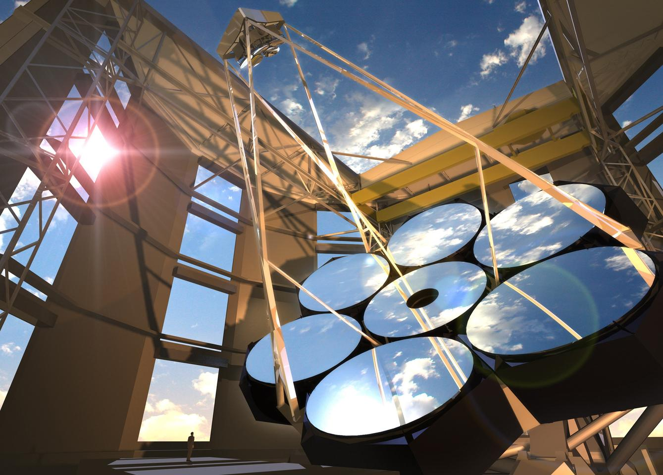 The GMT is composed of seven 27-foot mirrors (Image: Giant Magellan Telescope - GMTO Corporation)