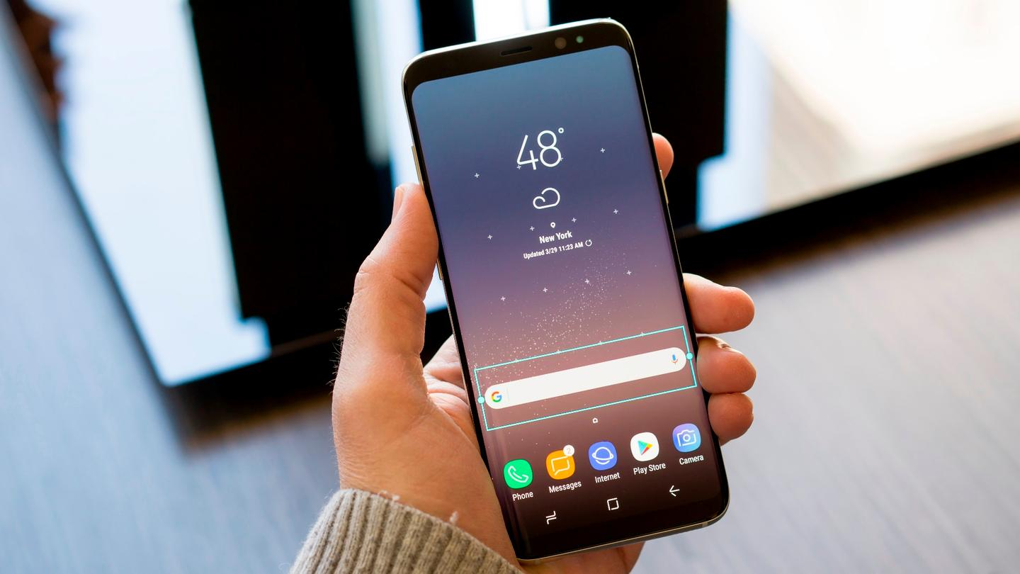 Galaxy S8+ (larger model, with 6.2-in display) in hand
