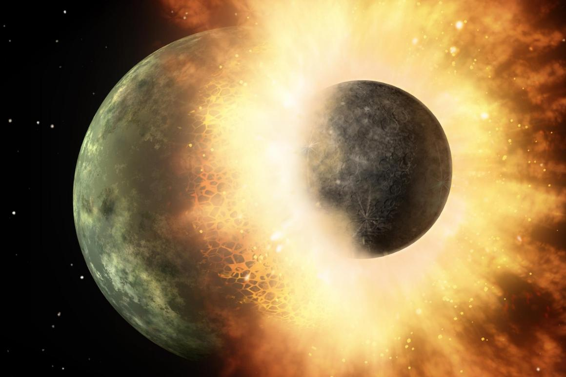 An illustration of a collision between two huge celestial bodies, similar to that nowtheorized to have given the Moon its asymmetrical face