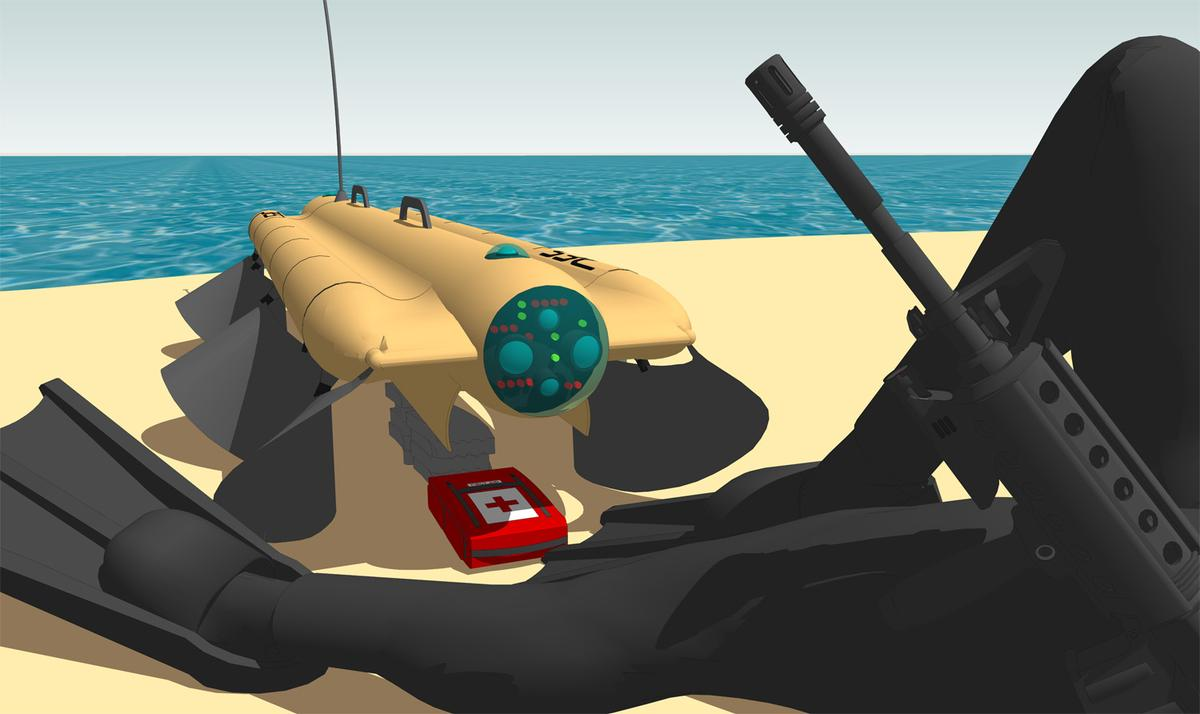 The Velox robot could be usedto carry medical supplies or ammunition through the water to troops on the beach