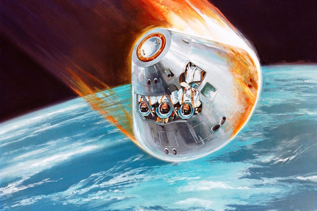 Artist's concept of a returning Apollo Command Module showing the plasma sheath