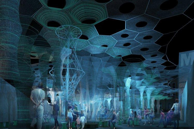 The multisensory Lumen gives off a glow at night due to photo-luminescent fabric