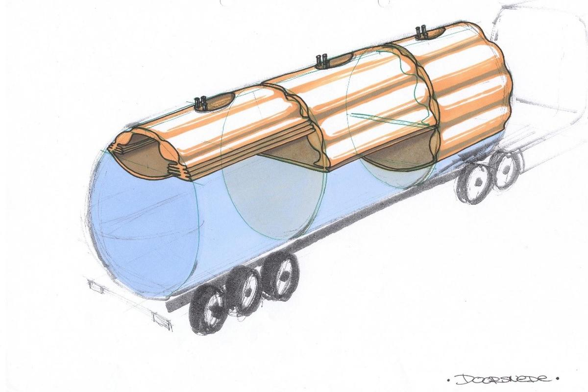 A sketch of the Cairbag system, installed in a baffle-equipped tanker trailer