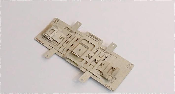 The Foldscope is made mostly of cardstock, and can be shipped flat-packed
