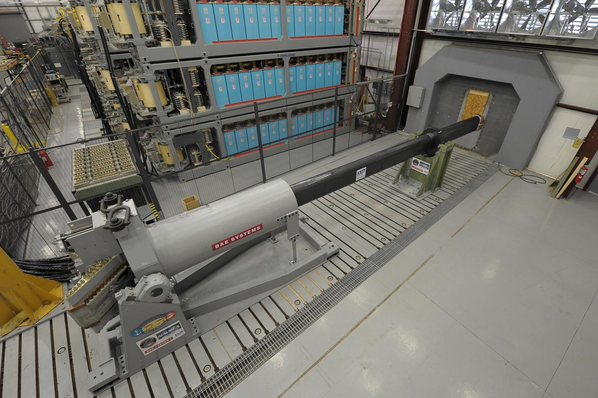 A 32-MJ version of the Office of Naval Research-funded Electromagnetic Railgun (EMRG) prototype at the Naval Surface Warfare Center (NSWC) Dahlgren (Photo: ONR)