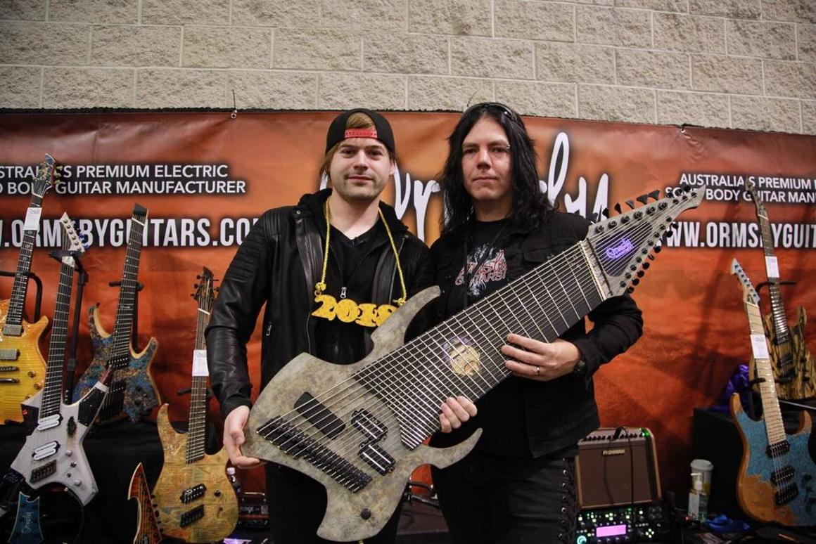 Jared Dines (left) and Perry Ormsby (right) launched the Djent 2018 at NAMM 2018