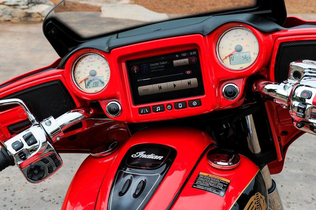 The Indian Motorcycles Ride Command infotainment system offers a plethora of audio, navigation and on-screen features